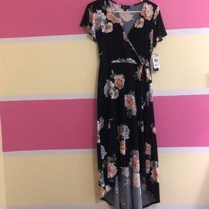 Flowy, think floral black dress